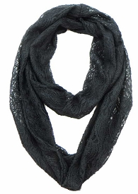 SCFH8483 Laced Infinity Scarf Black